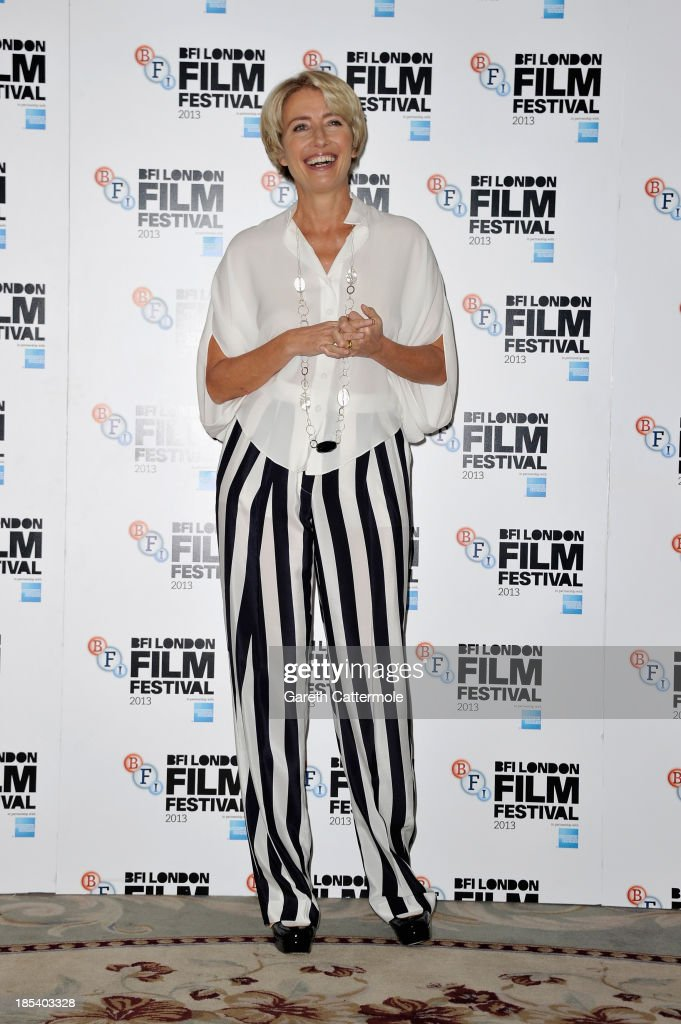 Actress Emma Thompson attends the photocall for 'Saving Mr Banks' during the 57th BFI London Film Festival at The Dorchester on October 20, 2013 in London, England.
