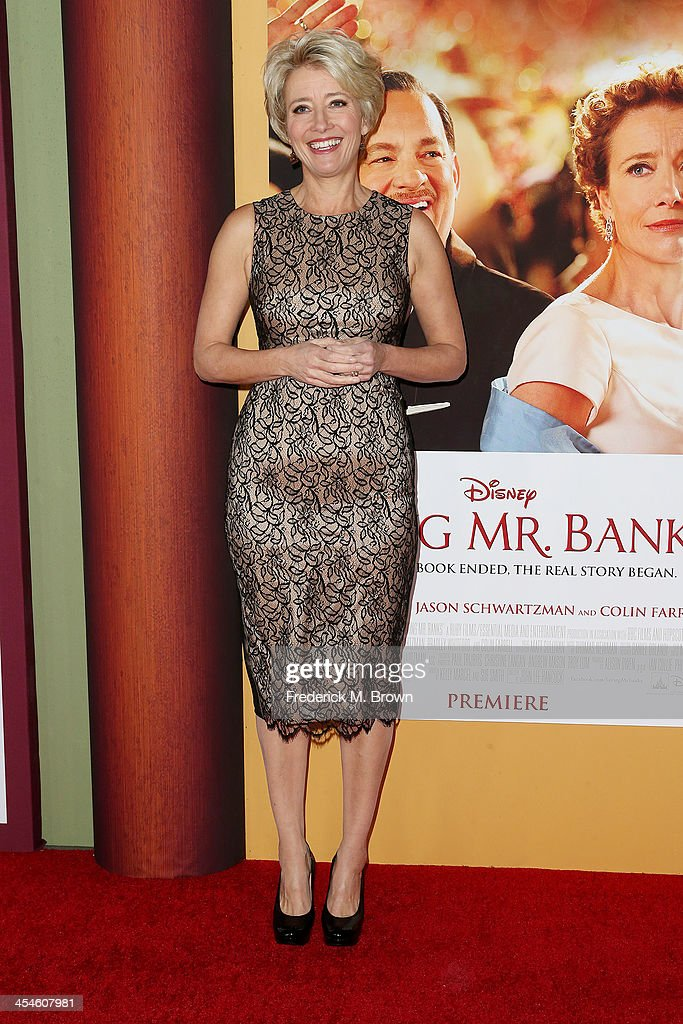 Actress <a gi-track='captionPersonalityLinkClicked' href=/galleries/search?phrase=Emma+Thompson&family=editorial&specificpeople=202848 ng-click='$event.stopPropagation()'>Emma Thompson</a> attends the Premiere of Disney's 'Saving Mr. Banks' at Walt Disney Studios on December 9, 2013 in Burbank, California.