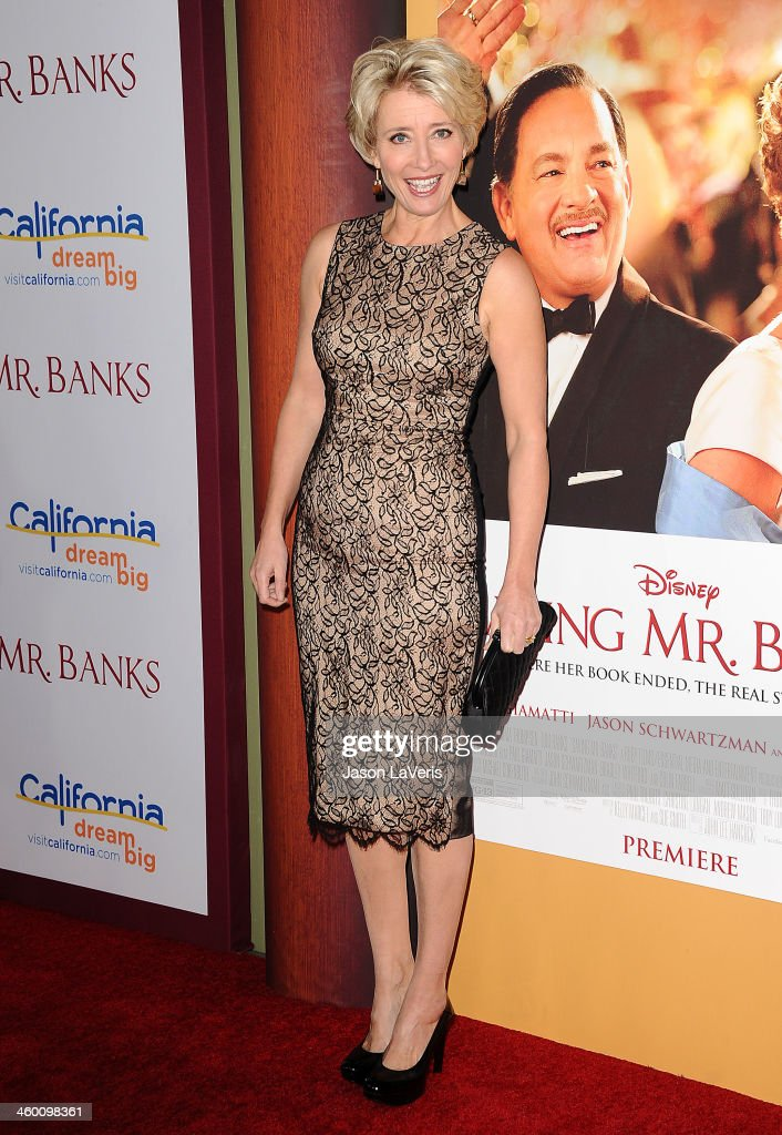 Actress <a gi-track='captionPersonalityLinkClicked' href=/galleries/search?phrase=Emma+Thompson&family=editorial&specificpeople=202848 ng-click='$event.stopPropagation()'>Emma Thompson</a> attends the premiere of 'Saving Mr. Banks' at Walt Disney Studios on December 9, 2013 in Burbank, California.