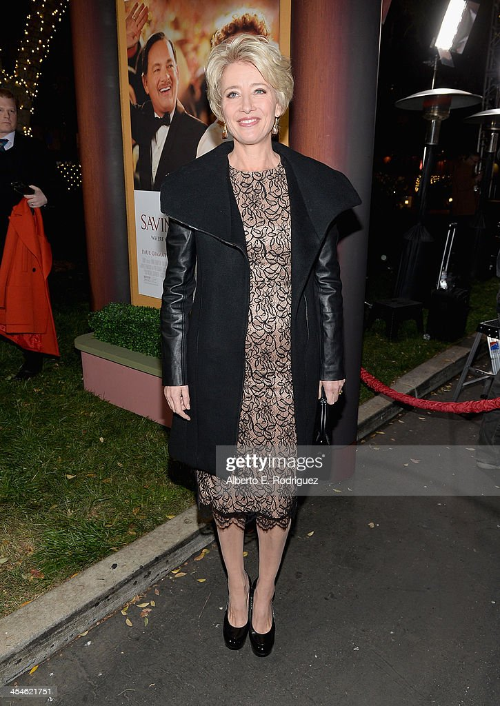 Actress <a gi-track='captionPersonalityLinkClicked' href=/galleries/search?phrase=Emma+Thompson&family=editorial&specificpeople=202848 ng-click='$event.stopPropagation()'>Emma Thompson</a> attends the U.S. Premiere Of Disney's 'Saving Mr. Banks' at Walt Disney Studios on December 9, 2013 in Burbank, California.
