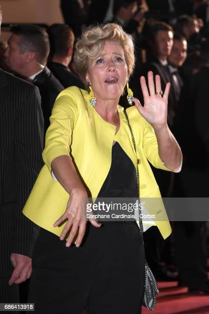Actress Emma Thompson departs 'The Meyerowitz Stories' premiere during the 70th annual Cannes Film Festival at Palais des Festivals on May 21 2017 in...