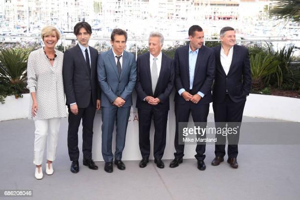Actress Emma Thompson director Noah Baumbach actors Ben Stiller Dustin Hoffman Adam Sandler and Netflix CEO Ted Sarandos attend the 'The Meyerowitz...