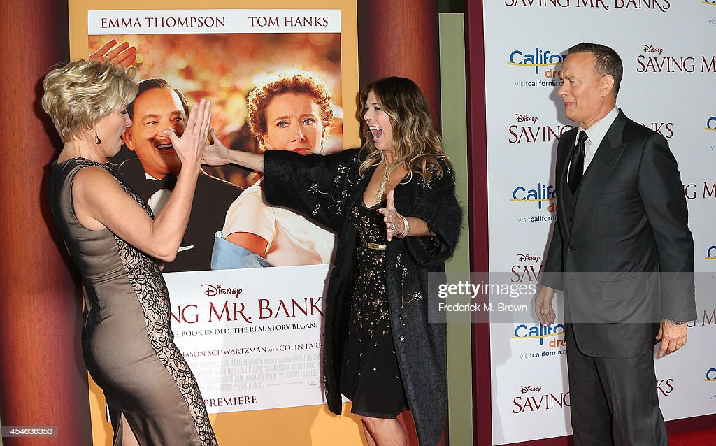 Actress Emma Thompson, producer Rita Wilson and actor Tom Hanks attend the Premiere of Disney's 'Saving Mr. Banks' at Walt Disney Studios on December 9, 2013 in Burbank, California.