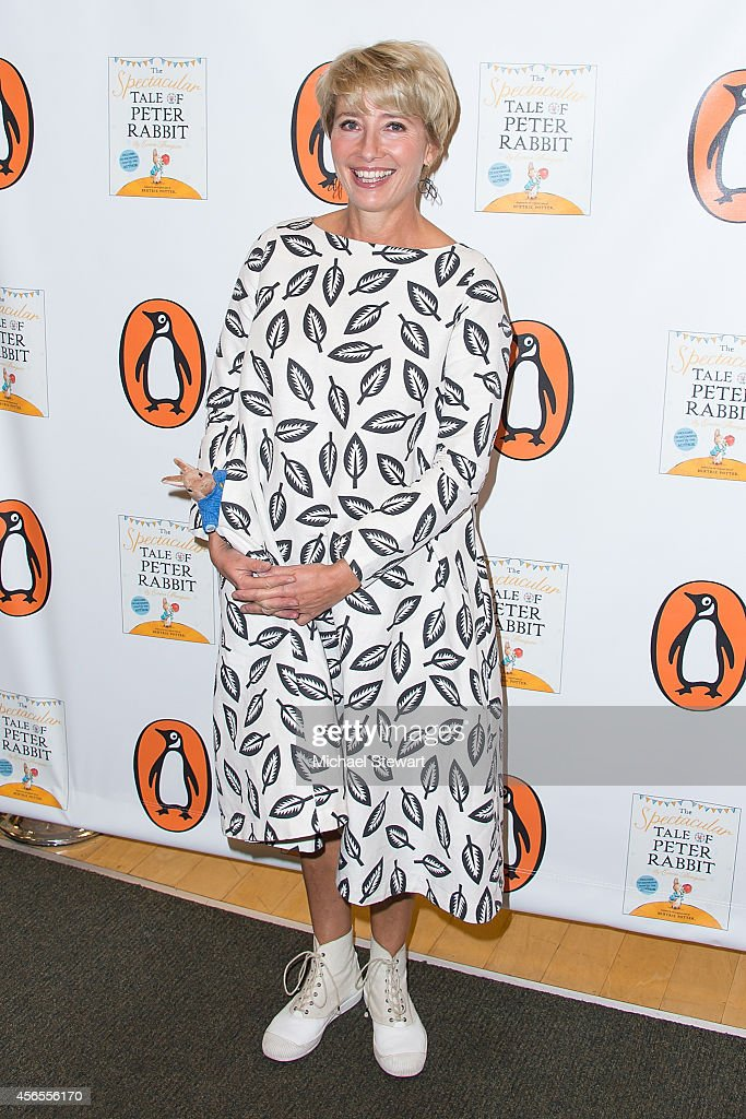 Actress Emma Thompson signs copies of 'The Spectacular Tale Of Peter Rabbit' at Barnes & Noble Tribeca on October 2, 2014 in New York City.
