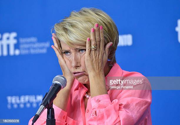 Actress Emma Thompson speaks at the 'The Love Punch' Press Conference during the 2013 Toronto International Film Festival at the TIFF Bell Lightbox...