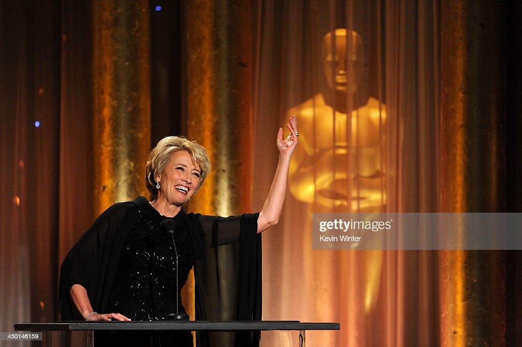 Actress <a gi-track='captionPersonalityLinkClicked' href=/galleries/search?phrase=Emma+Thompson&family=editorial&specificpeople=202848 ng-click='$event.stopPropagation()'>Emma Thompson</a> speaks onstage during the Academy of Motion Picture Arts and Sciences' Governors Awards at The Ray Dolby Ballroom at Hollywood & Highland Center on November 16, 2013 in Hollywood, California.