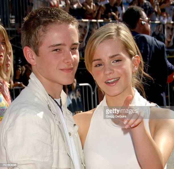 Actress Emma Watson and brother Alex Watson arrive at the 'Harry Potter and The Order of the Phoenix' premiere at the Grauman's Chinese Theatre on...