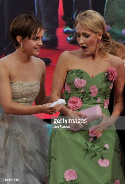 Actress Emma Watson and writer JK Rowling attend the 'Harry Potter And The Deathly Hallows Part 2' world premiere at Trafalgar Square on July 7 2011...