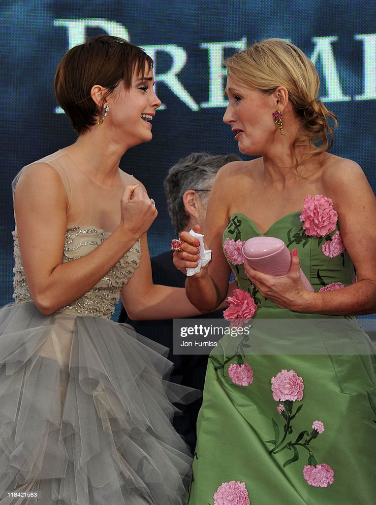 Actress Emma Watson and writer J.K. Rowling attend the 'Harry Potter And The Deathly Hallows Part 2' world premiere at Trafalgar Square on July 7, 2011 in London, England.