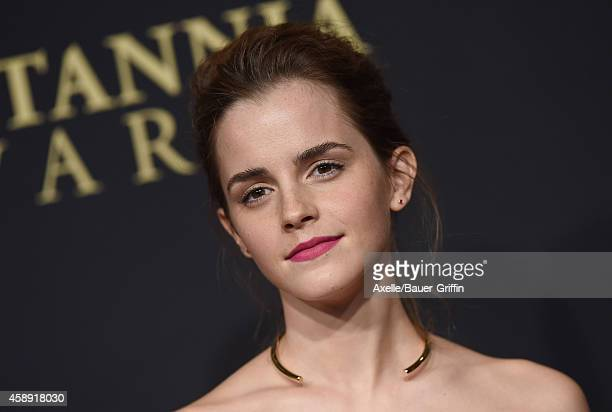 Actress Emma Watson arrives at the BAFTA Los Angeles Jaguar Britannia Awards at The Beverly Hilton Hotel on October 30 2014 in Beverly Hills...