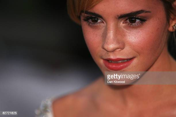 Actress Emma Watson arrives at the National Movie Awards at the Royal Festival Hall on September 8 2008 in London England