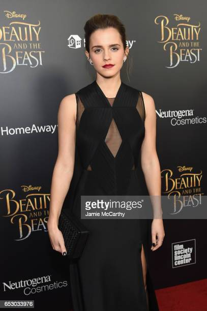 Actress Emma Watson arrives at the New York special screening of Disney's liveaction adaptation 'Beauty and the Beast' at Alice Tully Hall on March...