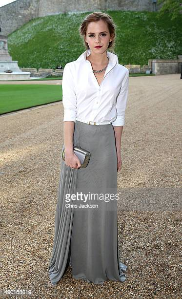 Actress Emma Watson arrives for a dinner to celebrate the work of The Royal Marsden hosted by the Duke of Cambridge at Windsor Castle on May 13 2014...