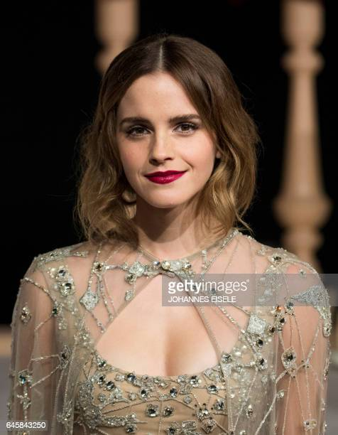 Actress Emma Watson arrives for the Asian premiere of the Disney Movie The Beauty and The Beast in Shanghai on February 27 2017 / AFP / Johannes...
