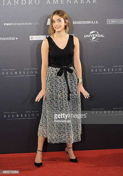Actress Emma Watson attends a photocall for 'Regression' at the Villamagna Hotel on August 27 2015 in Madrid Spain