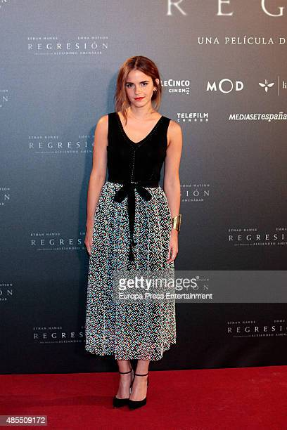 Actress Emma Watson attends 'Regression' photocall at Villamagna hotel on August 27 2015 in Madrid Spain