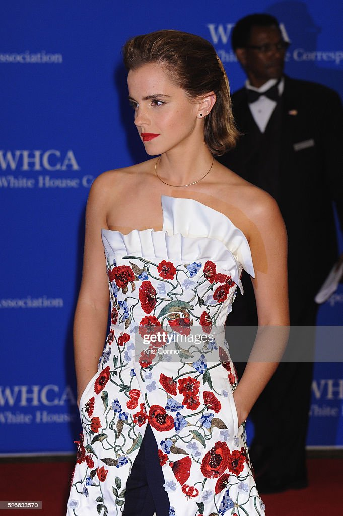 Actress <a gi-track='captionPersonalityLinkClicked' href=/galleries/search?phrase=Emma+Watson&family=editorial&specificpeople=171373 ng-click='$event.stopPropagation()'>Emma Watson</a> attends the 102nd White House Correspondents' Association Dinner on April 30, 2016 in Washington, DC.