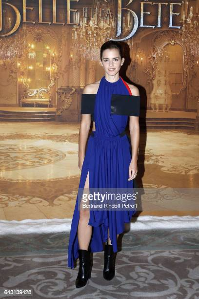 Actress Emma Watson attends 'The Best and Beauty La Belle et la Bete' Paris Premiere at Hotel Meurice on February 20 2017 in Paris France
