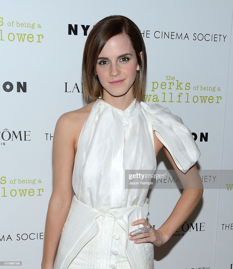 Actress <a gi-track='captionPersonalityLinkClicked' href=/galleries/search?phrase=Emma+Watson&family=editorial&specificpeople=171373 ng-click='$event.stopPropagation()'>Emma Watson</a> attends The Cinema Society with Lancome & Nylon screening of 'The Perks of Being a Wallflower' at the Crosby Street Hotel on September 13, 2012 in New York City.