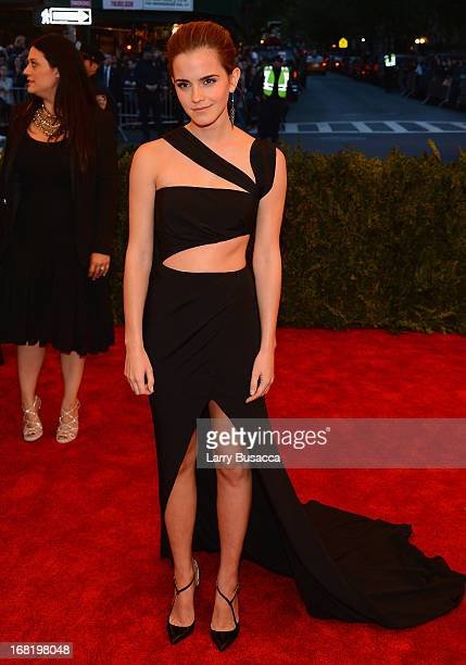 Actress Emma Watson attends the Costume Institute Gala for the 'PUNK Chaos to Couture' exhibition at the Metropolitan Museum of Art on May 6 2013 in...