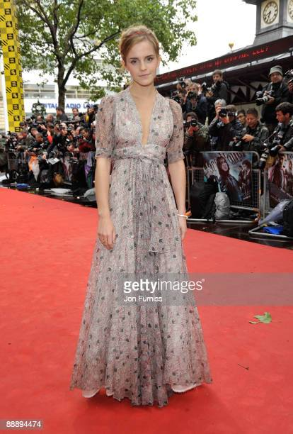Actress Emma Watson attends the 'Harry Potter and the HalfBlood Prince' film premiere at the Odeon Leicester Square on July 7 2009 in London England
