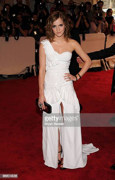 Actress Emma Watson attends the Metropolitan Museum of Art's 2010 Costume Institute Ball at The Metropolitan Museum of Art on May 3 2010 in New York...