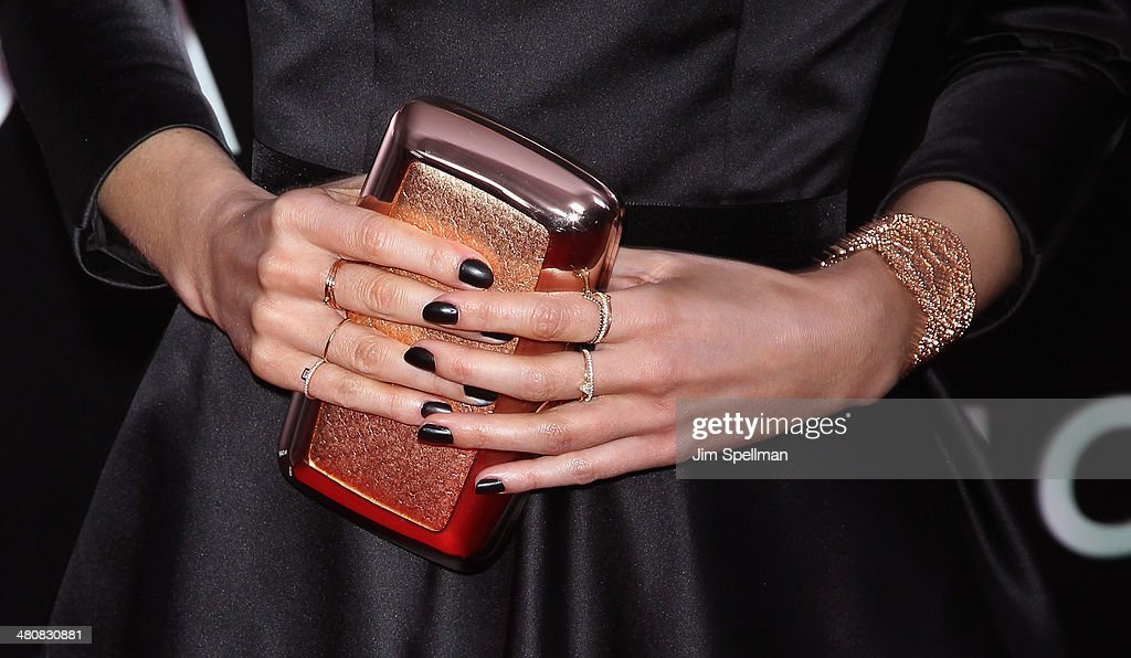 Actress Emma Watson (bag/jewelry detail) attends the 'Noah' New York Premiere at Ziegfeld Theatre on March 26, 2014 in New York City.