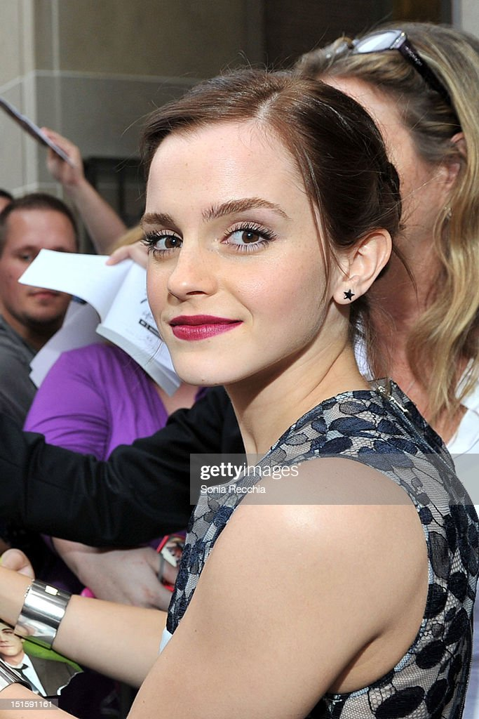 Actress <a gi-track='captionPersonalityLinkClicked' href=/galleries/search?phrase=Emma+Watson&family=editorial&specificpeople=171373 ng-click='$event.stopPropagation()'>Emma Watson</a> attends 'The Perks Of Being A Wallflower' premiere during the 2012 Toronto International Film Festival at Ryerson Theatre on September 8, 2012 in Toronto, Canada.