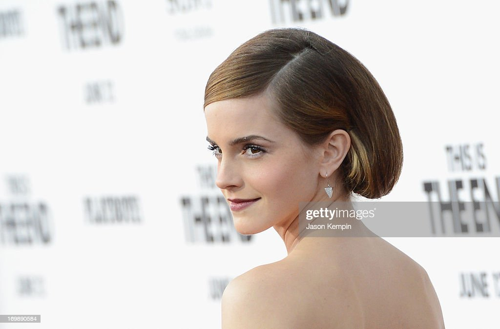 Actress <a gi-track='captionPersonalityLinkClicked' href=/galleries/search?phrase=Emma+Watson&family=editorial&specificpeople=171373 ng-click='$event.stopPropagation()'>Emma Watson</a> attends the premiere of Columbia Pictures' 'This Is The End' at the Regency Village Theatre on June 3, 2013 in Westwood, California.