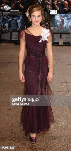 Actress Emma Watson attends the UK Premiere of 'Harry Potter And The Prisoner Of Azkaban' at the Odeon Leicester Square on May 30 2004 in London The...