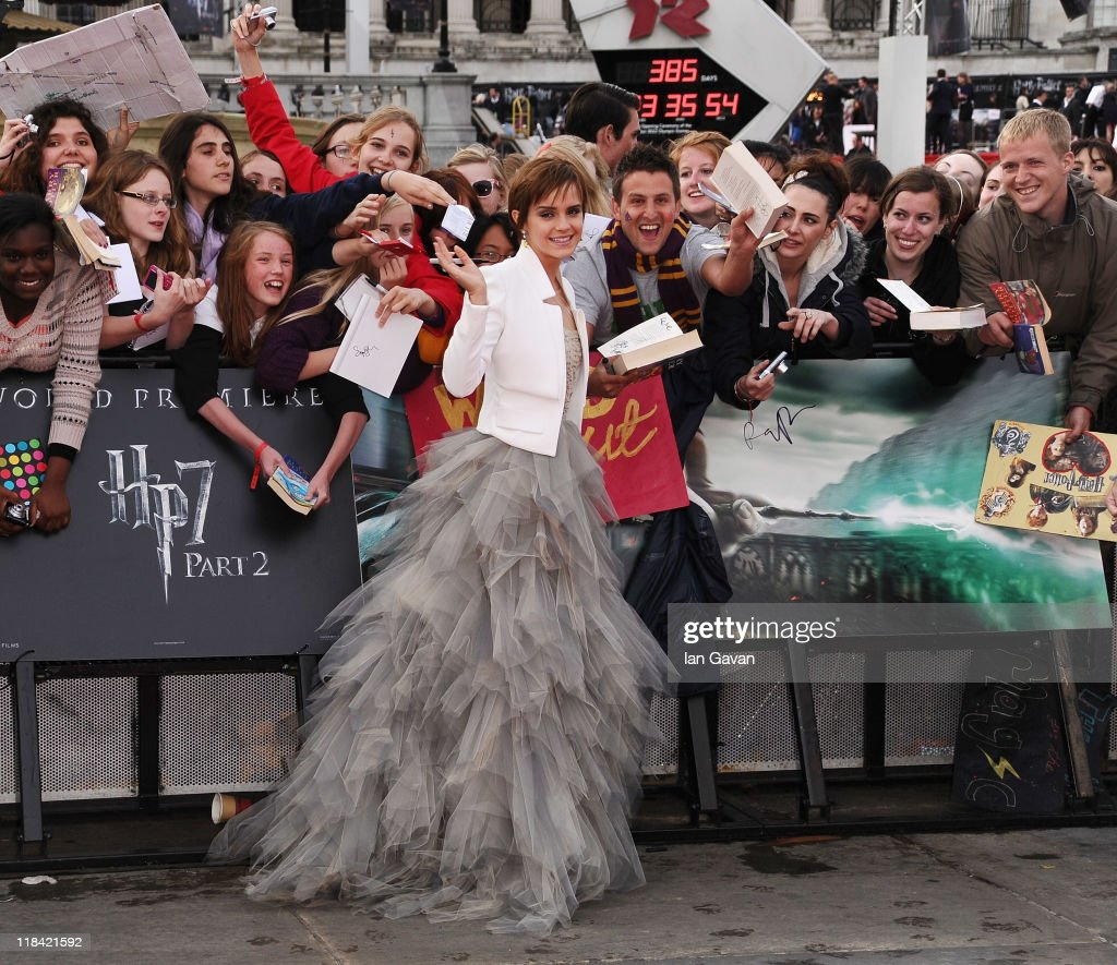 Actress Emma Watson attends the World Premiere of Harry Potter and The Deathly Hallows - Part 2 at Trafalgar Square on July 7, 2011 in London, England.