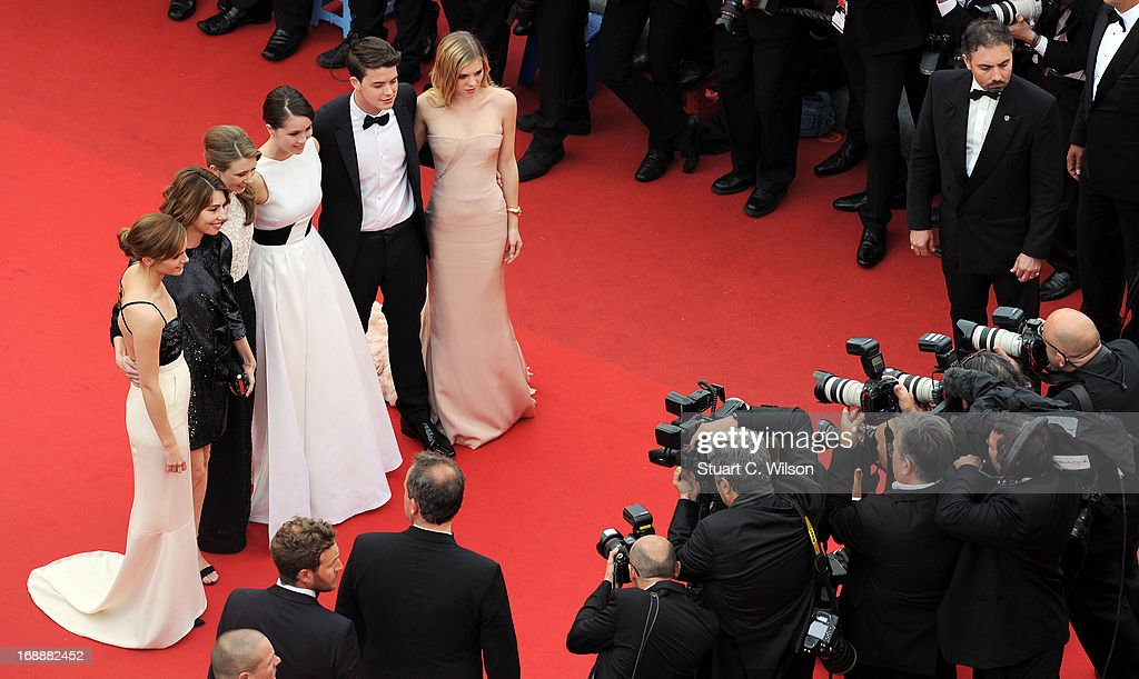 Actress <a gi-track='captionPersonalityLinkClicked' href=/galleries/search?phrase=Emma+Watson&family=editorial&specificpeople=171373 ng-click='$event.stopPropagation()'>Emma Watson</a>, director <a gi-track='captionPersonalityLinkClicked' href=/galleries/search?phrase=Sofia+Coppola&family=editorial&specificpeople=202230 ng-click='$event.stopPropagation()'>Sofia Coppola</a>, actors Taissa Fariga, Katie Chang, Israel Broussard and Claire Julien attend 'The Bling Ring' premiere during The 66th Annual Cannes Film Festival at the Palais des Festivals on May 16, 2013 in Cannes, France.