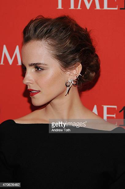 Actress Emma Watson hair detail attends the 2015 Time 100 Gala at Frederick P Rose Hall Jazz at Lincoln Center on April 21 2015 in New York City