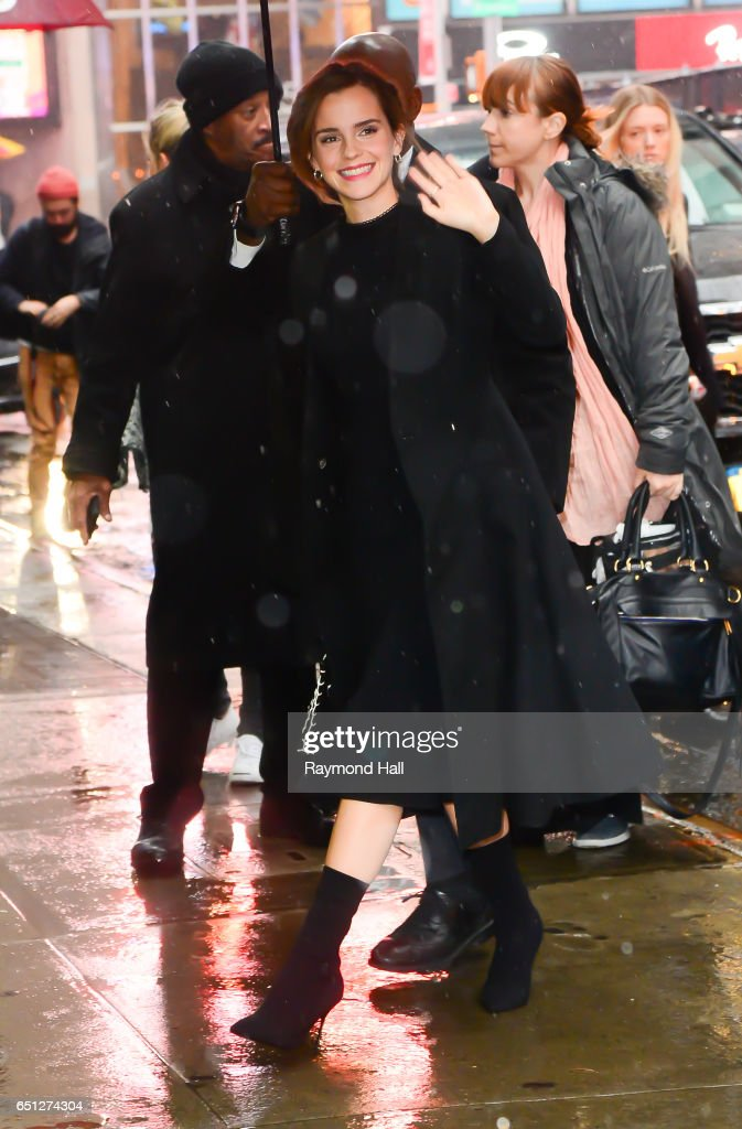 Actress Emma Watson is seen outside 'Good Morning America' on March 10, 2017 in New York City.