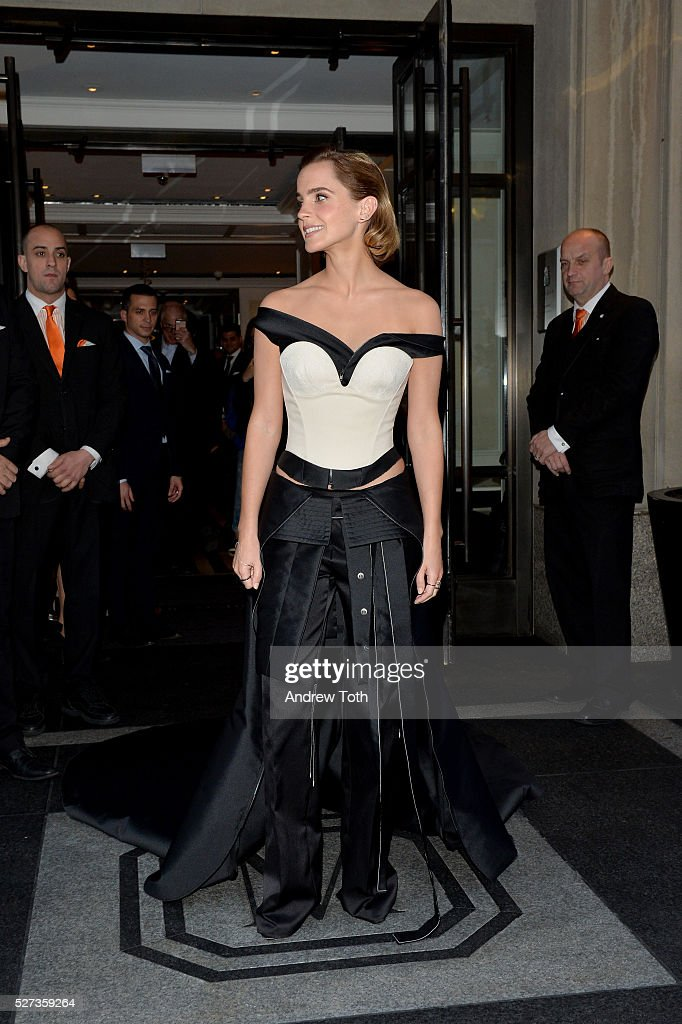 Actress Emma Watson leaves from The Mark Hotel for the 2016 'Manus x Machina: Fashion in an Age of Technology' Met Gala on May 2, 2016 in New York City.