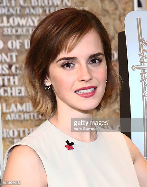 Actress Emma Watson lights The Empire State Building In HeForShe Magenta For International Women's Day at The Empire State Building on March 8 2016...