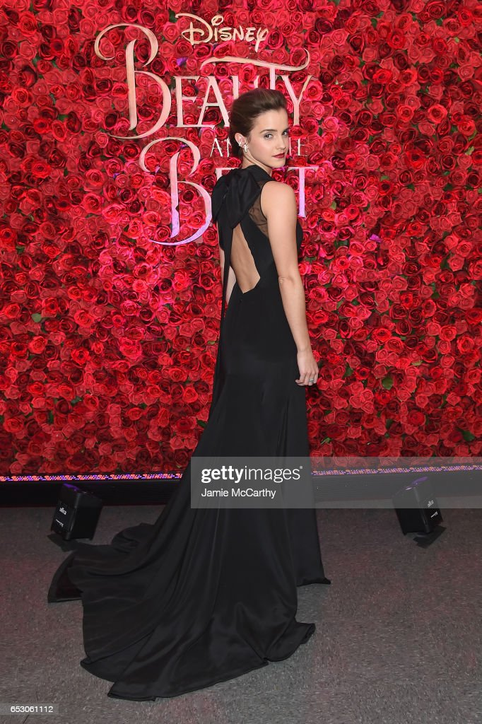 Actress Emma Watson poses backstage at the New York special screening of Disney's live-action adaptation 'Beauty and the Beast' at Alice Tully Hall on March 13, 2017 in New York City.