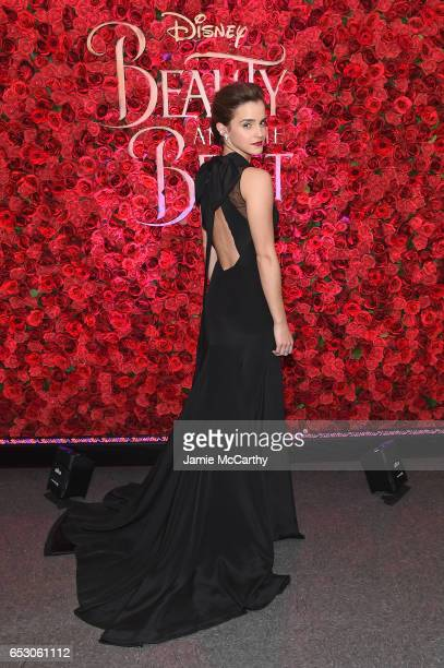 Actress Emma Watson poses backstage at the New York special screening of Disney's liveaction adaptation 'Beauty and the Beast' at Alice Tully Hall on...