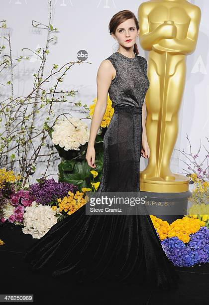 Actress Emma Watson poses in the press room during the Oscars at Loews Hollywood Hotel on March 2 2014 in Hollywood California