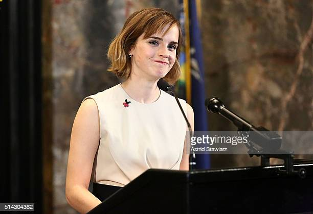 Actress Emma Watson speaks during The Empire State Building lighting In HeForShe Magenta For International Women's Day at The Empire State Building...
