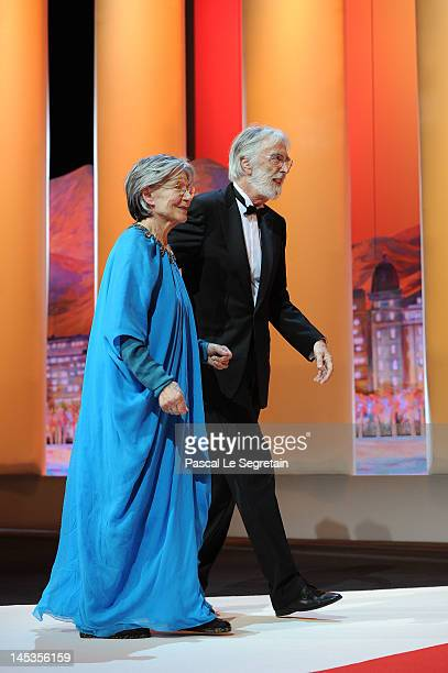 Actress Emmanuelle and director Michael Haneke onstage at the Closing Ceremony during the 65th Annual Cannes Film Festival on May 27 2012 in Cannes...