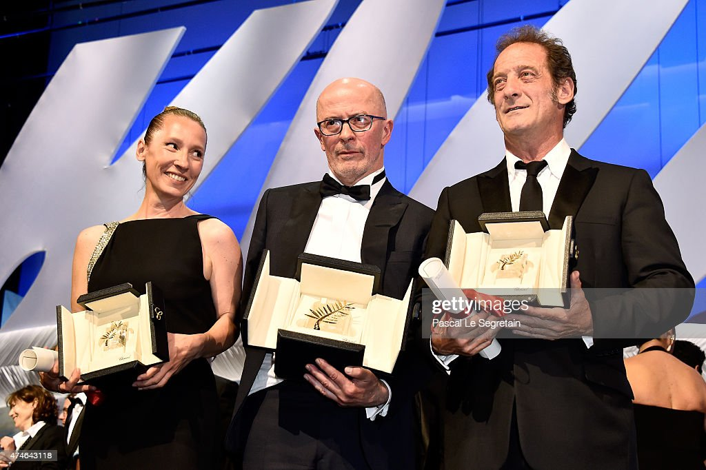 Actress Emmanuelle Bercot winner of Best Performance by an Actress in 'Mon Roi' director Jacques Audiard winner of the Palme D'Or for his film...