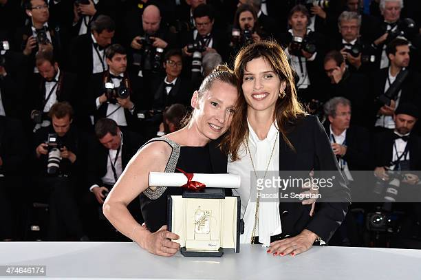Actress Emmanuelle Bercot winner of the Best Performance by an Actress award for her performance in 'Mon Roi' poses with Maiwenn during a photocall...