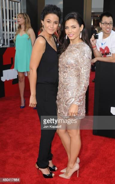 Actress Emmanuelle Chriqui and actress Jenna DewanTatum arrive at the Los Angeles Premiere '22 Jump Street' at Regency Village Theatre on June 10...