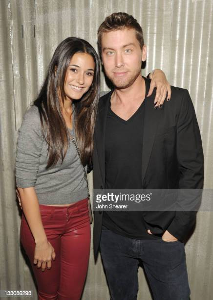 Actress Emmanuelle Chriqui and Lance Bass attend the launch of Google Music hosted by TMobile at Mr Brainwash Studio on November 16 2011 in Los...