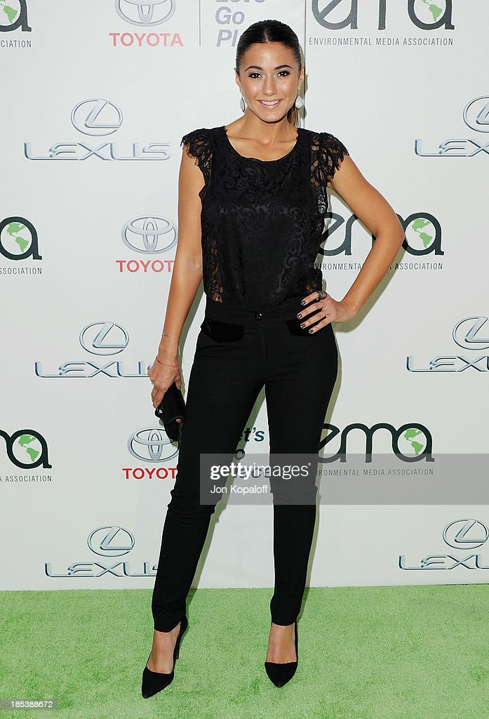 Actress <a gi-track='captionPersonalityLinkClicked' href=/galleries/search?phrase=Emmanuelle+Chriqui&family=editorial&specificpeople=541098 ng-click='$event.stopPropagation()'>Emmanuelle Chriqui</a> arrives at the 2013 Environmental Media Awards at Warner Bros. Studios on October 19, 2013 in Burbank, California.