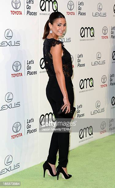 Actress Emmanuelle Chriqui arrives at the 23rd Annual Environmental Media Awards presented by Toyota and Lexus at Warner Bros Studios on October 19...