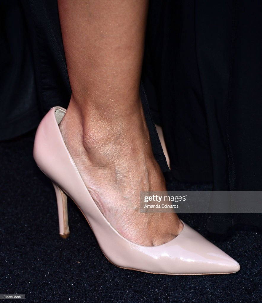 Actress <a gi-track='captionPersonalityLinkClicked' href=/galleries/search?phrase=Emmanuelle+Chriqui&family=editorial&specificpeople=541098 ng-click='$event.stopPropagation()'>Emmanuelle Chriqui</a> (shoe detail) arrives at the Crackle Original Series' 'Cleaners' and 'Sequestered' summer premiere celebration at 1 OAK on August 14, 2014 in West Hollywood, California.