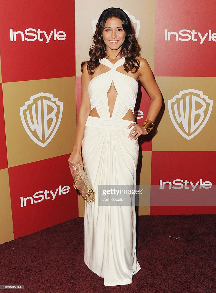 Actress Emmanuelle Chriqui arrives at the InStyle And Warner Bros. Golden Globe Party at The Beverly Hilton Hotel on January 13, 2013 in Beverly Hills, California.