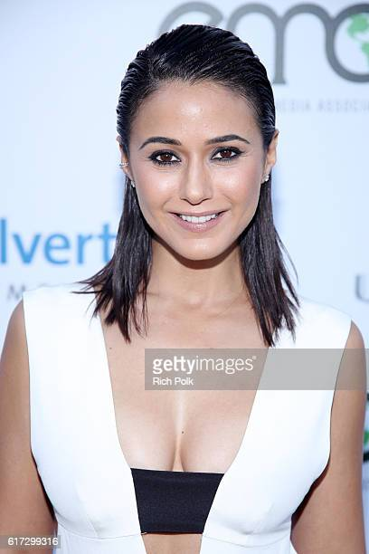 Actress Emmanuelle Chriqui attends the Environmental Media Association 26th Annual EMA Awards Presented By Toyota Lexus And Calvert at Warner Bros...